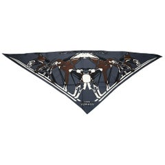 Hermès Silk Grey  Big Triangle Scarf Hairband