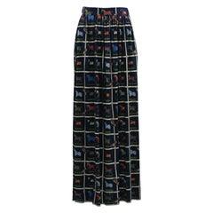 Hermes Silk Jersey Horse Print Skirt