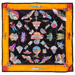 Hermes Silk Multicolor Soies Volants Scarf  W/ Decorative Chinese Kites