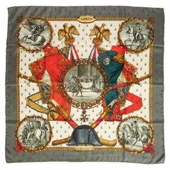 Hermes Silk Napoleon Gray Gold Scarf