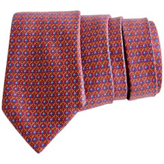 Hermes Silk Neck Tie Abstract Rope Print 7242 MA 1990s