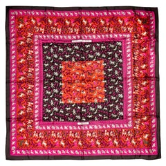 Hermes Silk Rose&Red Chasse en Inde  (Hunt in India) Array of Wild Animals Scarf