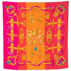 Hermes Silk Scarf 70 in Colourblock Ferronnerie Print