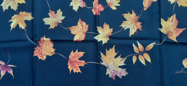 Women's Hermès Silk Scarf A Walk In the Park Leigh P Cooke Leaves Black 90 cm  For Sale