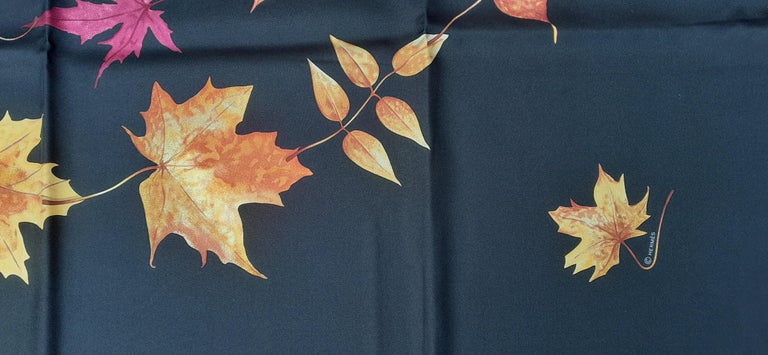 Hermès Silk Scarf A Walk In the Park Leigh P Cooke Leaves Black 90 cm  For Sale 5