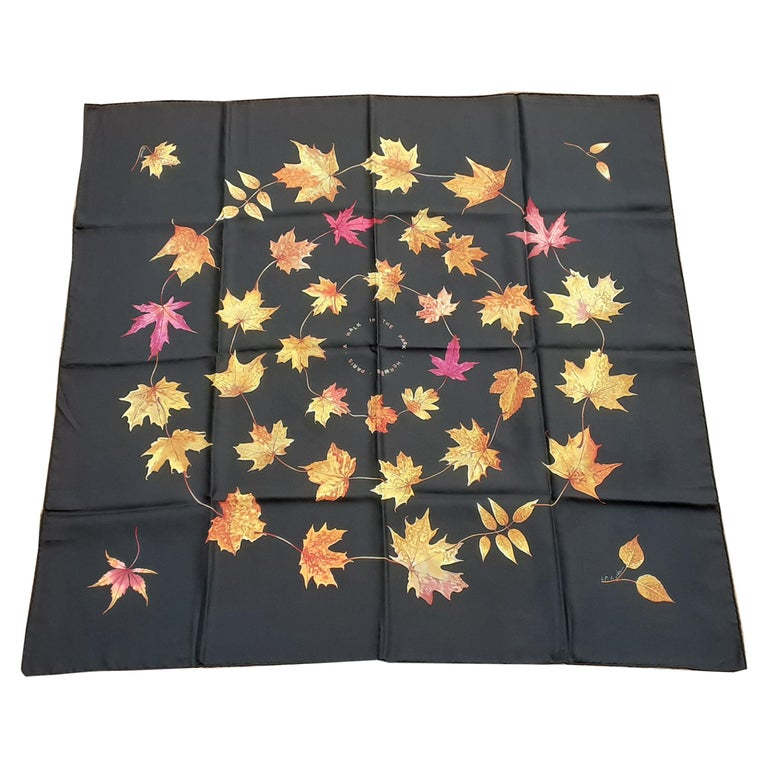 Hermès Silk Scarf A Walk In the Park Leigh P Cooke Leaves Black 90 cm  For Sale