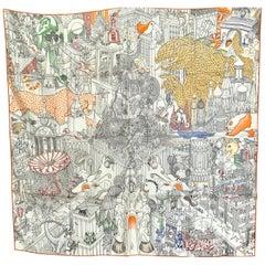 Hermes Silk Scarf Animapolis au Carre White 90 cm Color 16 Jan Bajtlik