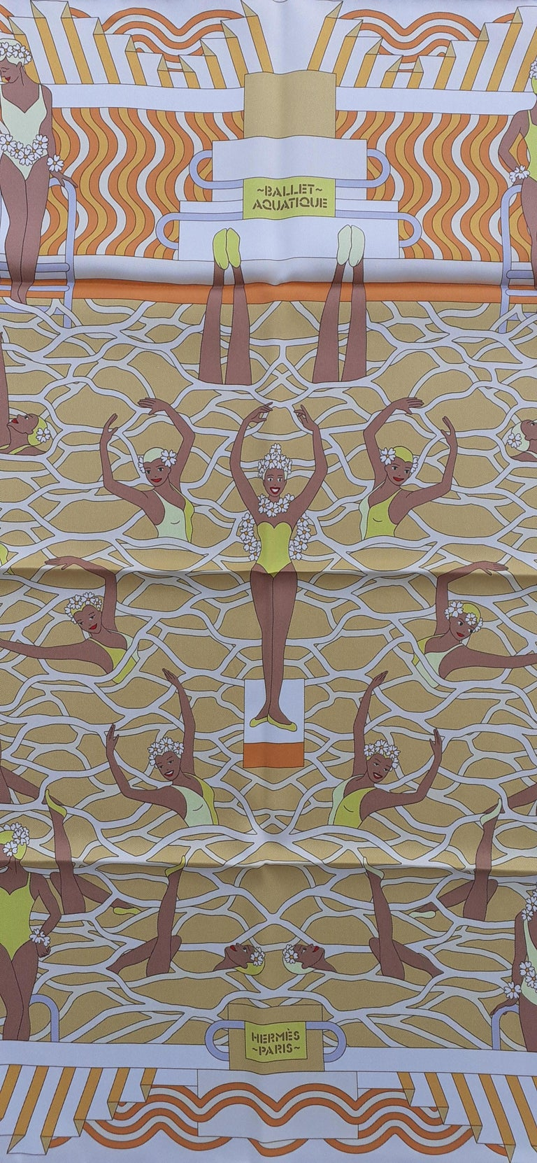Brown Hermès Silk Scarf Ballet Aquatique Pierre Marie Orange Yellow White 70 cm For Sale