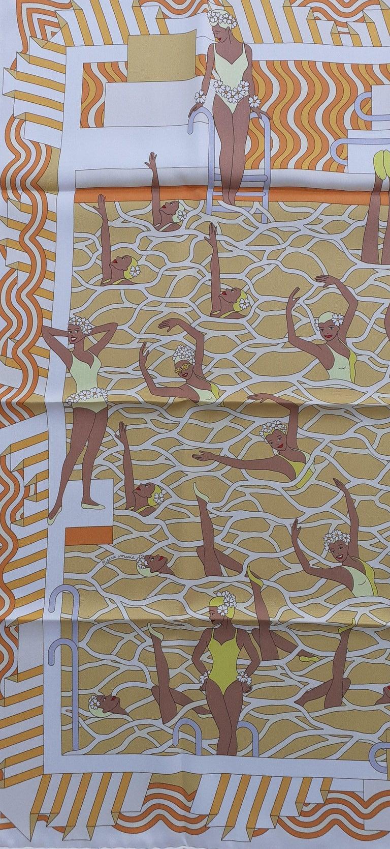 Hermès Silk Scarf Ballet Aquatique Pierre Marie Orange Yellow White 70 cm In New Condition For Sale In ., FR
