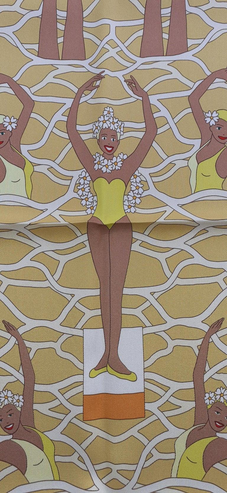 Hermès Silk Scarf Ballet Aquatique Pierre Marie Orange Yellow White 70 cm For Sale 2