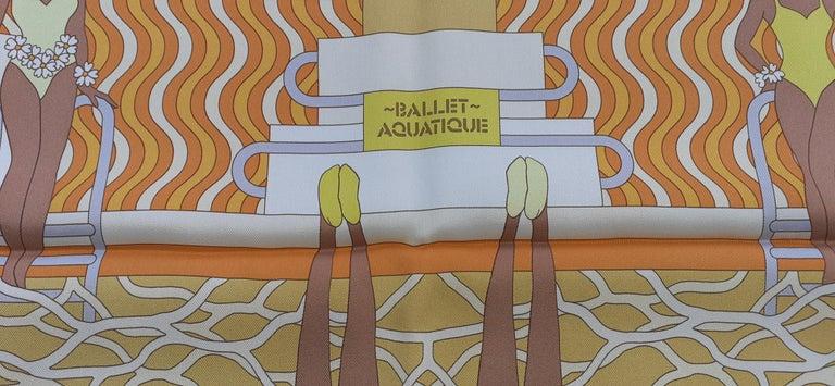 Hermès Silk Scarf Ballet Aquatique Pierre Marie Orange Yellow White 70 cm For Sale 4