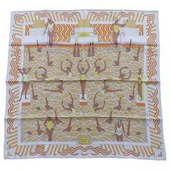 Hermès Silk Scarf Ballet Aquatique Pierre Marie Orange Yellow White 70 cm