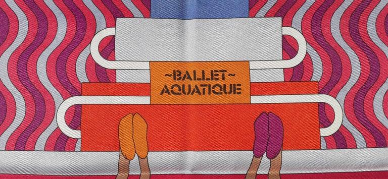 Hermès Silk Scarf Ballet Aquatique Rouge Bleu Jean Ciel 68 cm  7