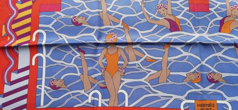 Gray Hermès Silk Scarf Ballet Aquatique Rouge Bleu Jean Ciel 68 cm
