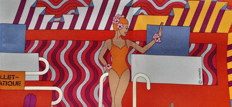 Hermès Silk Scarf Ballet Aquatique Rouge Bleu Jean Ciel 68 cm  1