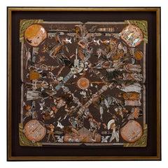 "Vintage Hermès Silk Scarf by Kermit Oliver, ""Les Danses Des Indiens,"" 1999"