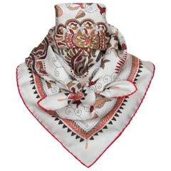 Hermès Silk Scarf Carré Kantha Tigers Elephants Indian Spirit White 35 inches