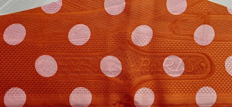 Hermès Silk Scarf Cavalcadour Brides de Gala A Pois Origny Orange Pink 90 cm For Sale 7