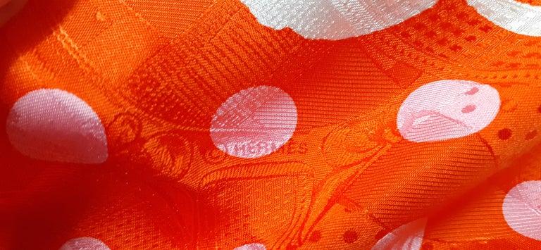 Hermès Silk Scarf Cavalcadour Brides de Gala A Pois Origny Orange Pink 90 cm For Sale 9