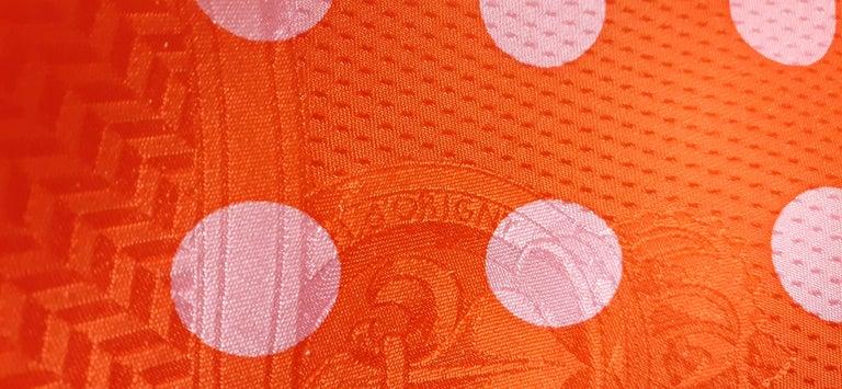 Hermès Silk Scarf Cavalcadour Brides de Gala A Pois Origny Orange Pink 90 cm For Sale 10