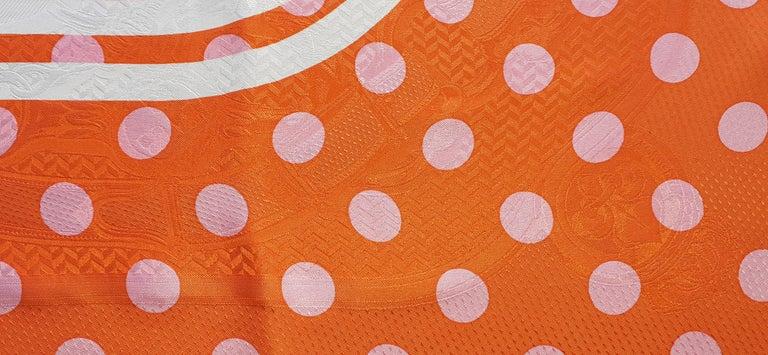 Hermès Silk Scarf Cavalcadour Brides de Gala A Pois Origny Orange Pink 90 cm In Excellent Condition For Sale In ., FR