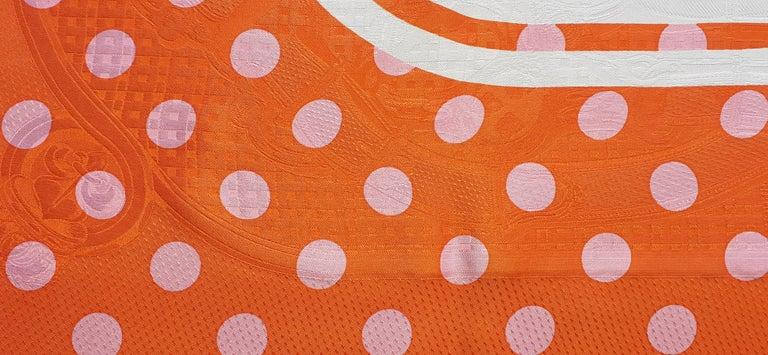 Women's Hermès Silk Scarf Cavalcadour Brides de Gala A Pois Origny Orange Pink 90 cm For Sale