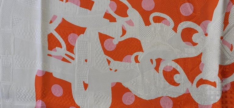 Hermès Silk Scarf Cavalcadour Brides de Gala A Pois Origny Orange Pink 90 cm For Sale 1