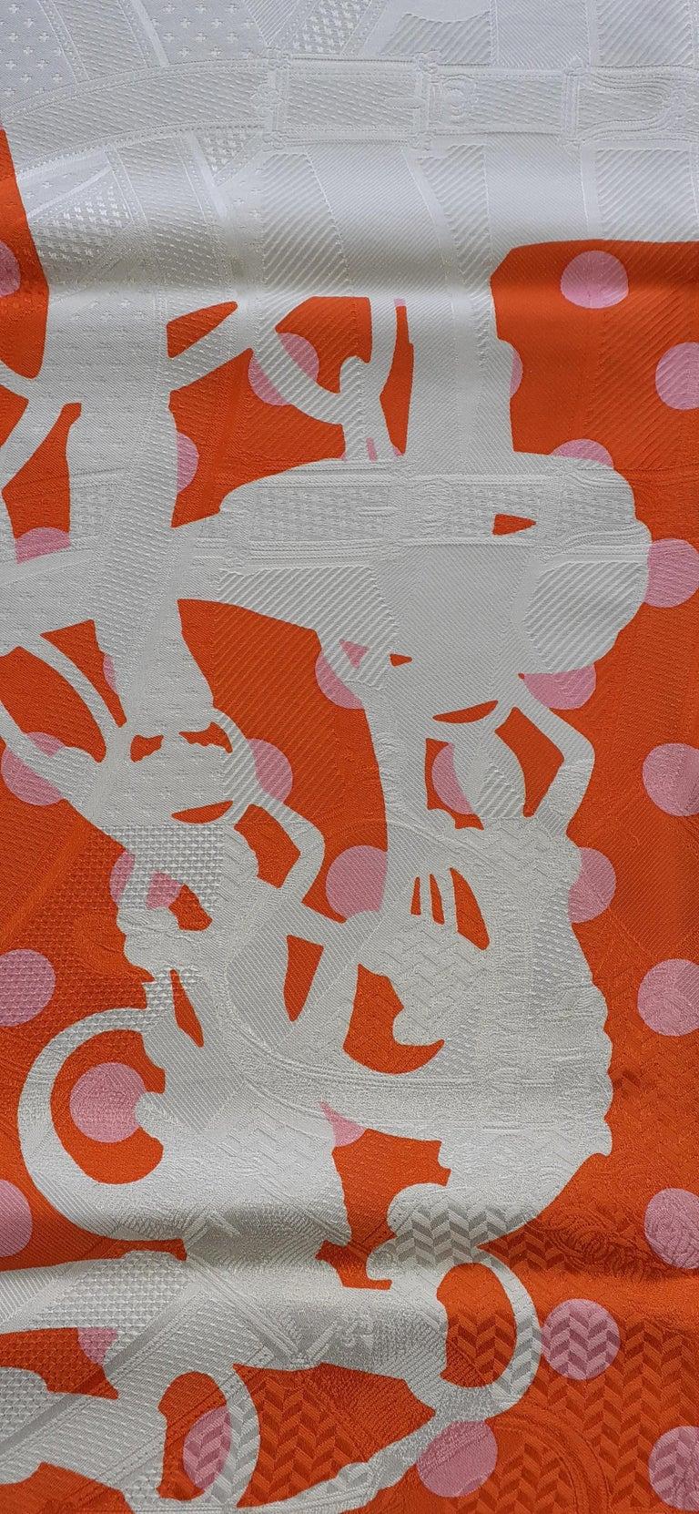 Hermès Silk Scarf Cavalcadour Brides de Gala A Pois Origny Orange Pink 90 cm For Sale 2