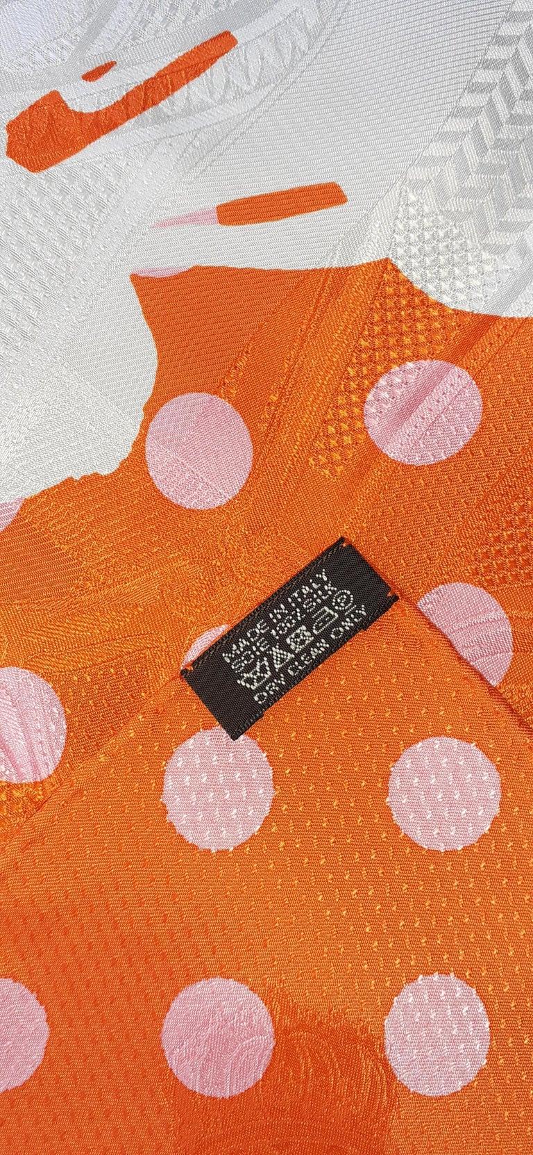 Hermès Silk Scarf Cavalcadour Brides de Gala A Pois Origny Orange Pink 90 cm For Sale 3