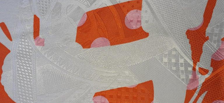 Hermès Silk Scarf Cavalcadour Brides de Gala A Pois Origny Orange Pink 90 cm For Sale 5