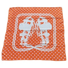 Hermès Silk Scarf Cavalcadour Brides de Gala A Pois Origny Orange Pink 90 cm