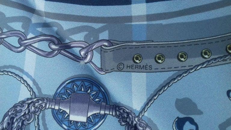 Hermès Silk Scarf C'est la Fete Daisuke Nomura Ciel Bleu CW01 70cm For Sale 8
