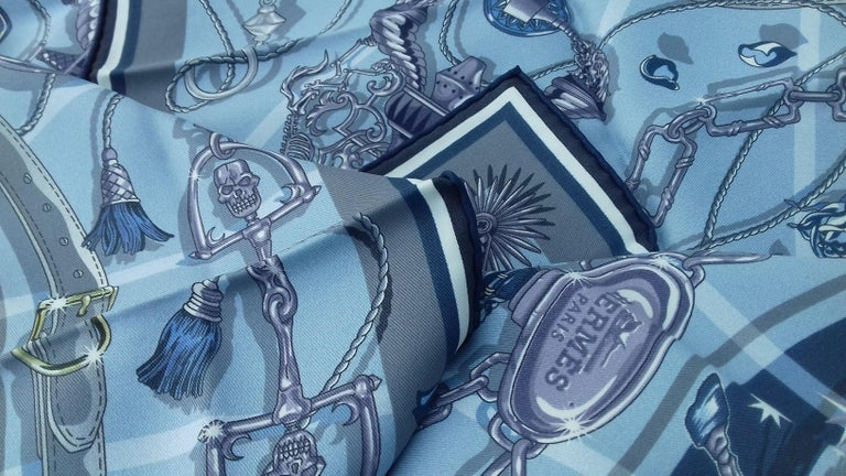 Hermès Silk Scarf C'est la Fete Daisuke Nomura Ciel Bleu CW01 70cm For Sale 10