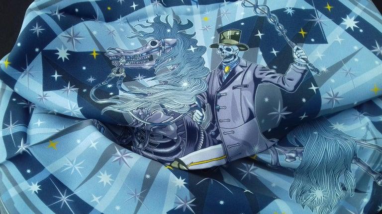 Hermès Silk Scarf C'est la Fete Daisuke Nomura Ciel Bleu CW01 70cm For Sale 11