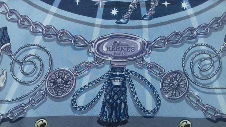 Blue Hermès Silk Scarf C'est la Fete Daisuke Nomura Ciel Bleu CW01 70cm For Sale
