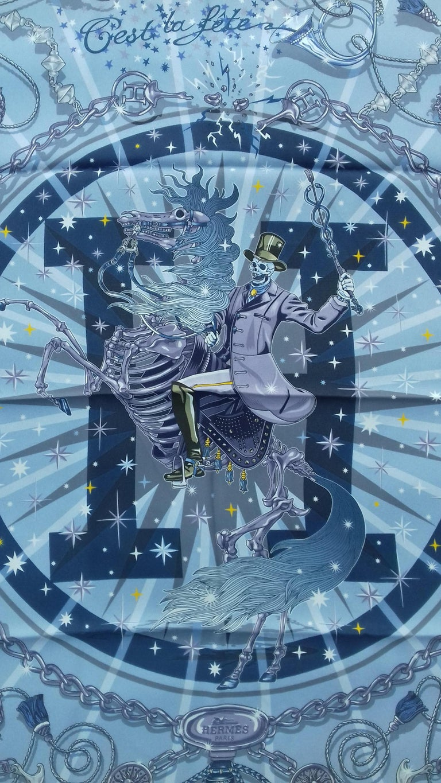 Hermès Silk Scarf C'est la Fete Daisuke Nomura Ciel Bleu CW01 70cm In Excellent Condition For Sale In ., FR