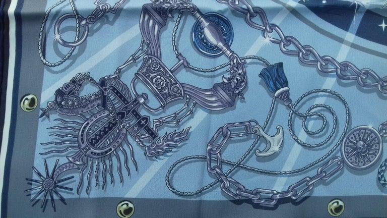 Hermès Silk Scarf C'est la Fete Daisuke Nomura Ciel Bleu CW01 70cm For Sale 1