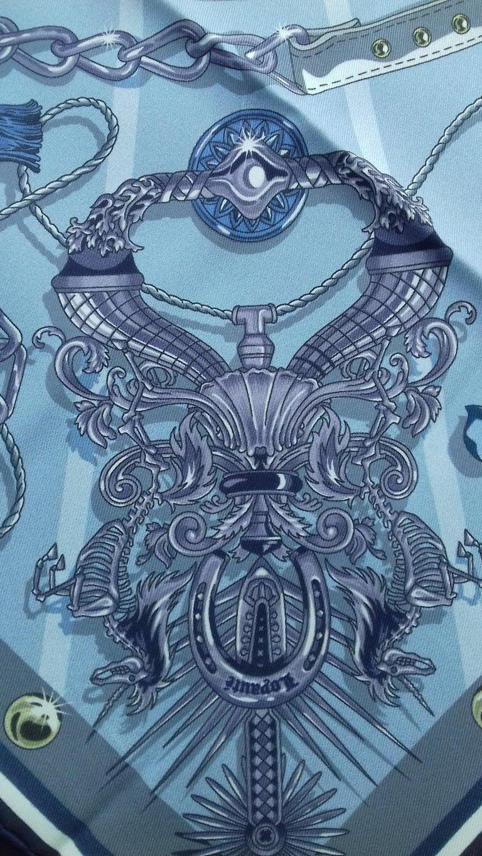 Hermès Silk Scarf C'est la Fete Daisuke Nomura Ciel Bleu CW01 70cm For Sale 2