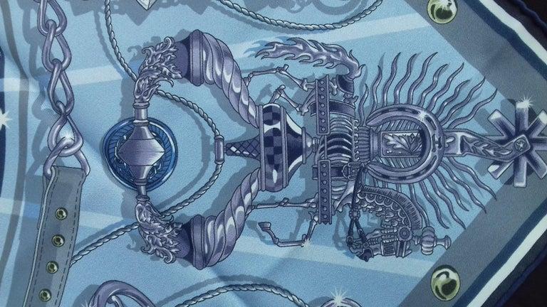 Hermès Silk Scarf C'est la Fete Daisuke Nomura Ciel Bleu CW01 70cm For Sale 3