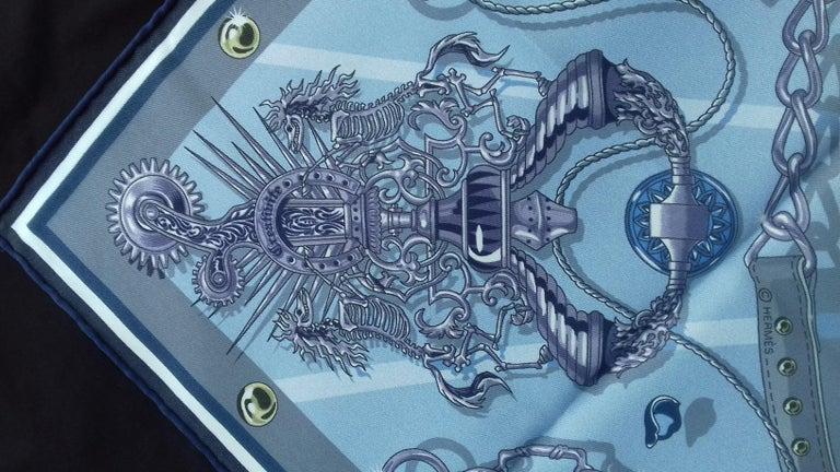 Hermès Silk Scarf C'est la Fete Daisuke Nomura Ciel Bleu CW01 70cm For Sale 4