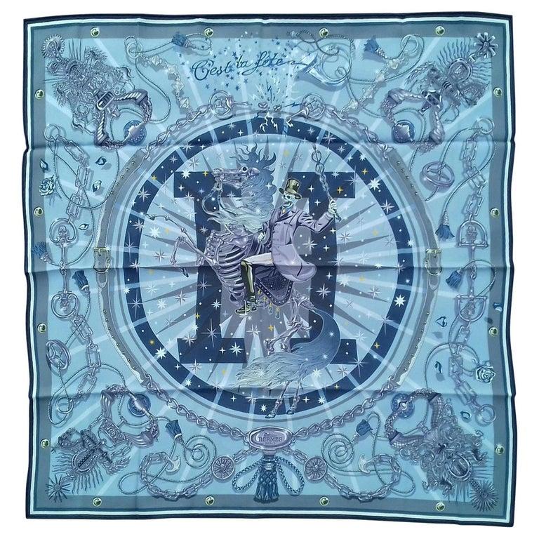 Hermès Silk Scarf C'est la Fete Daisuke Nomura Ciel Bleu CW01 70cm For Sale