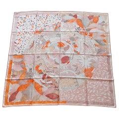 Hermès Silk Scarf Chacun Fait Son Nid Beige Orange Pink 90 cm