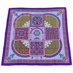 Hermès Silk Scarf Ciels Byzantins Purple Yellow Pink 90 cm