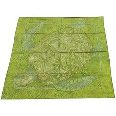 Hermès Silk Scarf De Madras A Zakynthos Turtle Anise Green 35 inches