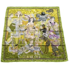 Hermès Silk Scarf Fairytales Dumas Green Grey Yellow 90 cm