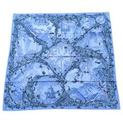 Hermès Silk Scarf Fantaisie Pittoresque Houtin Blue Green 90 cm Gorgeous