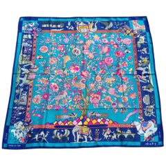 Hermès Silk Scarf Fantaisies Indiennes Dubigeon Year Of India from 1985 Blue 90