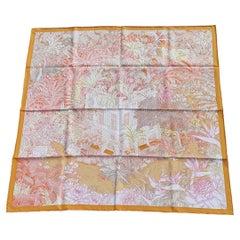 Hermès Silk Scarf Faubourg Tropical Orange Mangue Rose 90 cm