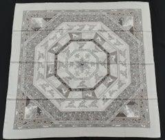 Hermès Silk Scarf Fleurs d'Hiver Laroche Grey F/W 90 cm