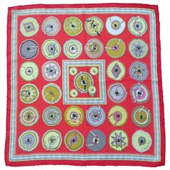 Hermès Silk Scarf Gavroche Pocket Square Belles du Mexique Jamin Red 16'